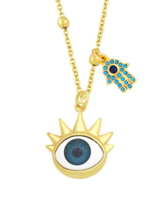 C (blue) Brass Enamel Evil Eye Vintage Palm Pendant Necklace
