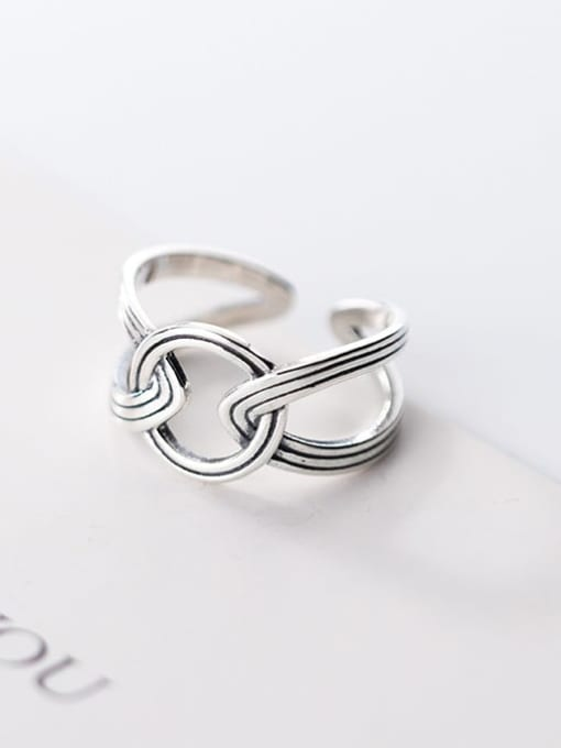 Rosh 925 Sterling Silver hollow Geometric Ethnic Band Ring 1