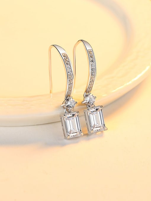 CCUI 925 Sterling Silver Cubic Zirconia Geometric Minimalist Hook Earring 2