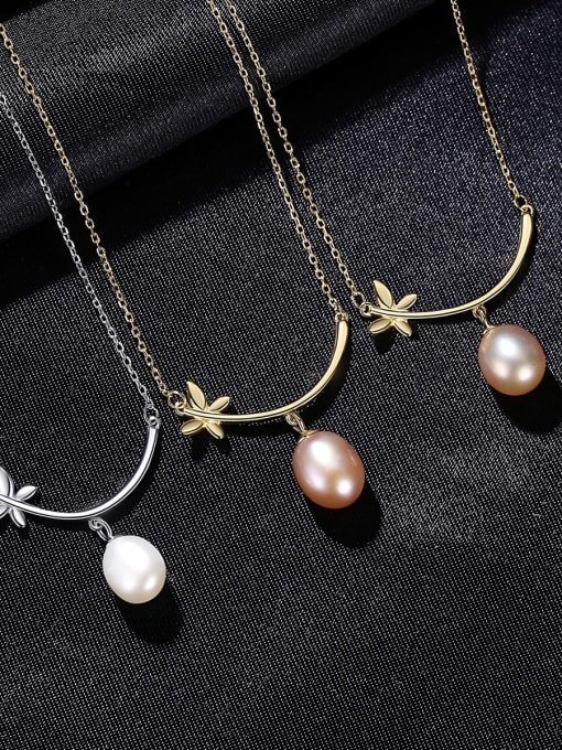 CCUI 925 Sterling Silver Freshwater Pearl Flower Minimalist Necklace 2
