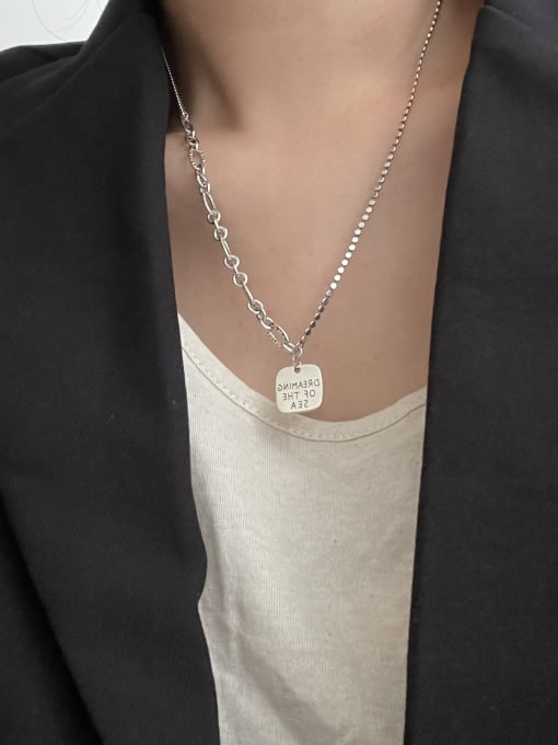 Boomer Cat 925 Sterling Silver Geometric Vintage Hollow Chain Necklace 1