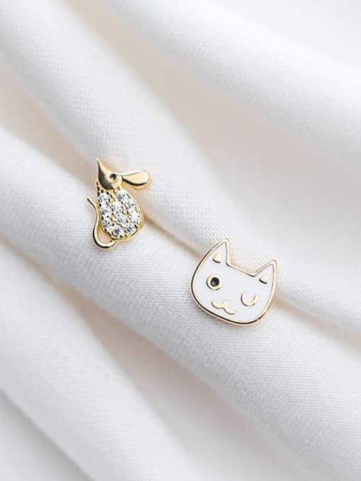 Rosh 925 Sterling Silver Rhinestone White Cat Cute Stud Earring 1