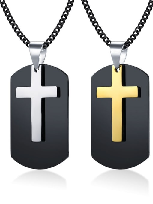 CONG Stainless steel Cross Vintage Regligious Necklace
