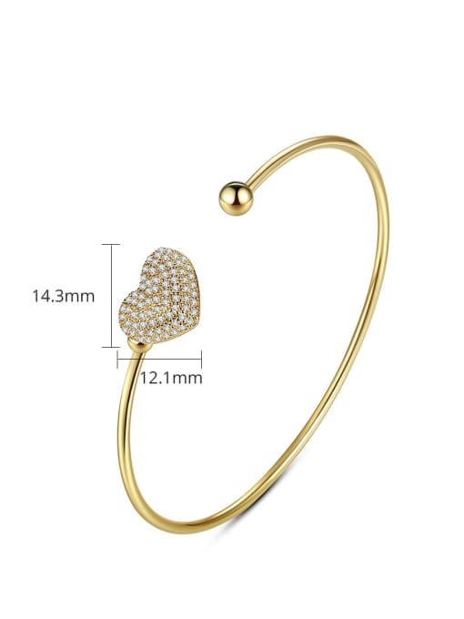 BLING SU Brass Cubic Zirconia Heart Minimalist Cuff Bangle 3