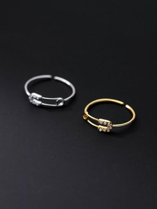 Rosh 925 Sterling Silver Rhinestone Geometric Minimalist Band Ring 3