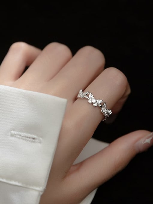 Rosh 925 Sterling Silver Cubic Zirconia Butterfly Minimalist Band Ring 1