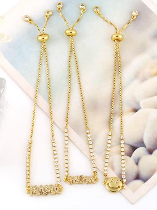CC Brass Cubic Zirconia Letter Minimalist Adjustable Bracelet 4