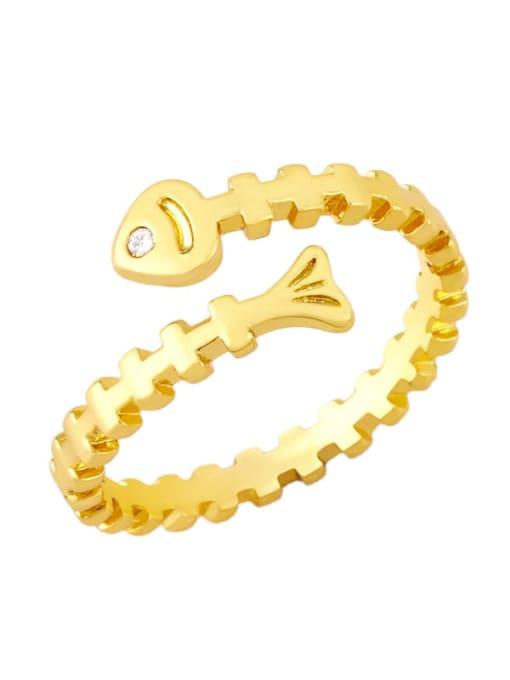 A Brass Cubic Zirconia Key Minimalist Band Ring