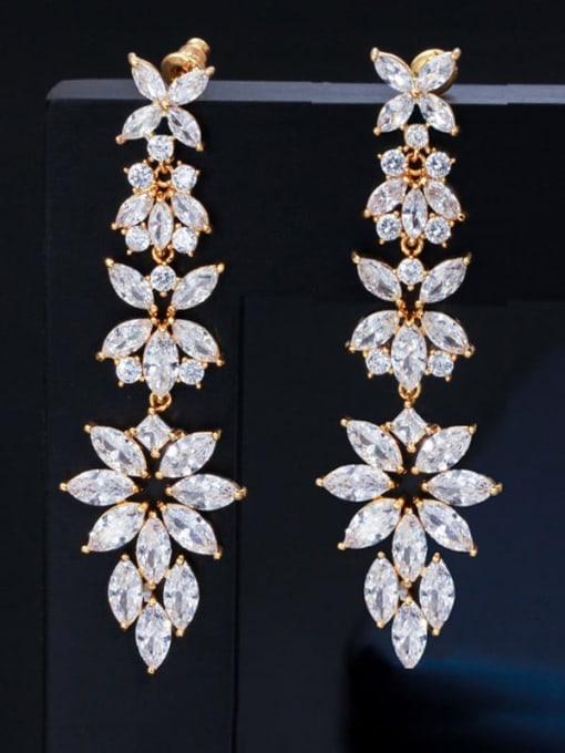 gold Brass Cubic Zirconia Flower Statement Chandelier Earring