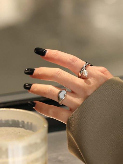 DAKA 925 Sterling Silver Freshwater Pearl Irregular Vintage Band Ring 3