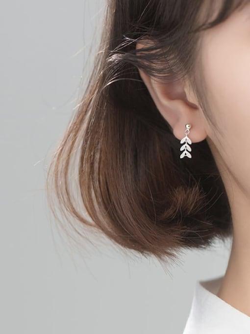 Rosh 925 Sterling Silver Leaf Minimalist Drop Earring 2