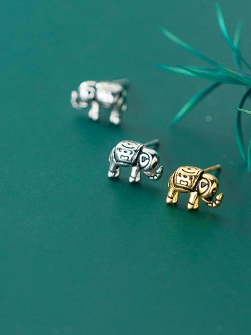 Rosh 925 Sterling Silver Elephant Vintage Stud Earring 1