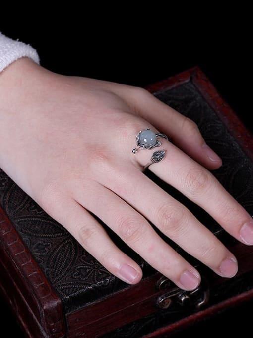 DEER 925 Sterling Silver Jade Fox Vintage Band Ring 4