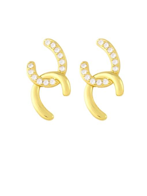 gold Brass Cubic Zirconia Geometric Minimalist Stud Earring
