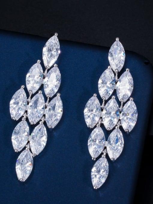 Platinum White Brass Cubic Zirconia Flower Luxury Drop Earring