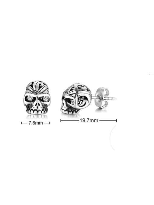 CONG Titanium Steel Rhinestone Skull Vintage Stud Earring 3