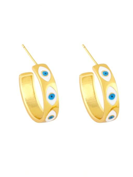 white Brass Enamel Evil Eye Minimalist Stud Earring