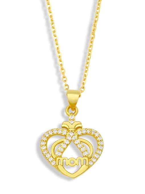 CC Brass Cubic Zirconia  Minimalist Love English Letter Mom Necklace 3