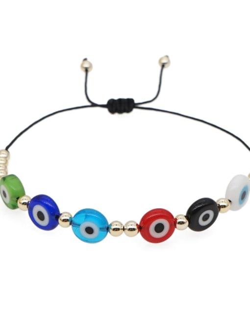 QT B200002A Stainless steel Glass Bead Multi Color Evil Eye Bohemia Adjustable Bracelet
