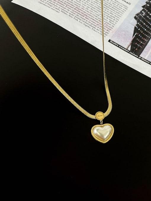 A TEEM Titanium Steel Shell Heart Vintage Necklace 1