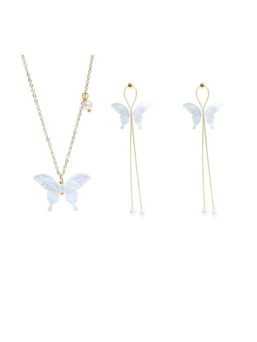 RAIN Brass Shell  Minimalist ButterflyEarring and Necklace Set 0