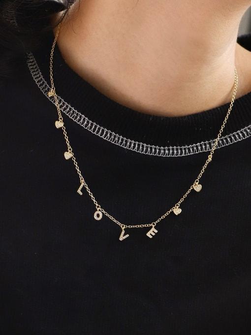 CHARME Brass Cubic Zirconia Letter Minimalist Necklace 1