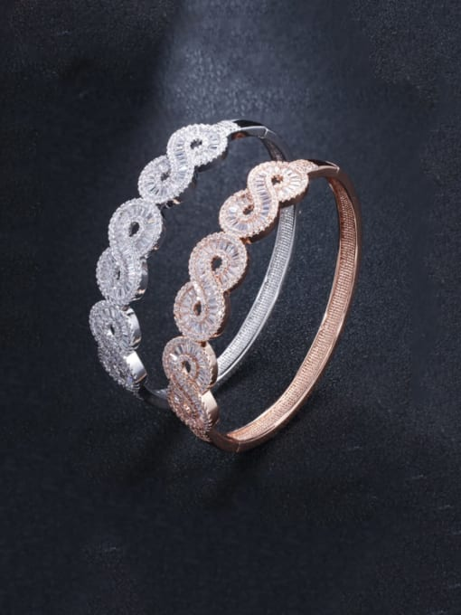 L.WIN Brass Cubic Zirconia Geometric Luxury Band Bangle