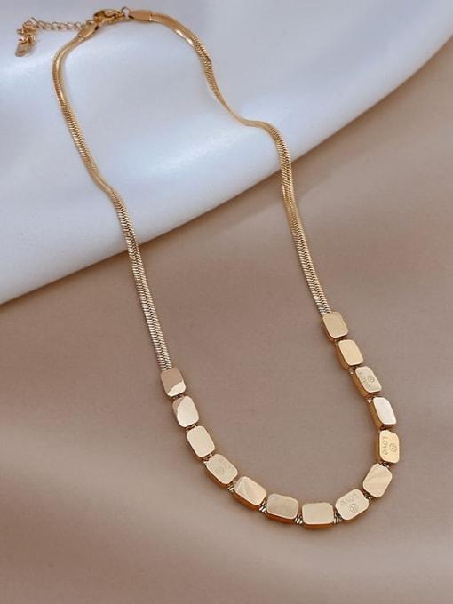 A TEEM Titanium Steel Rhinestone Square Minimalist Necklace 0