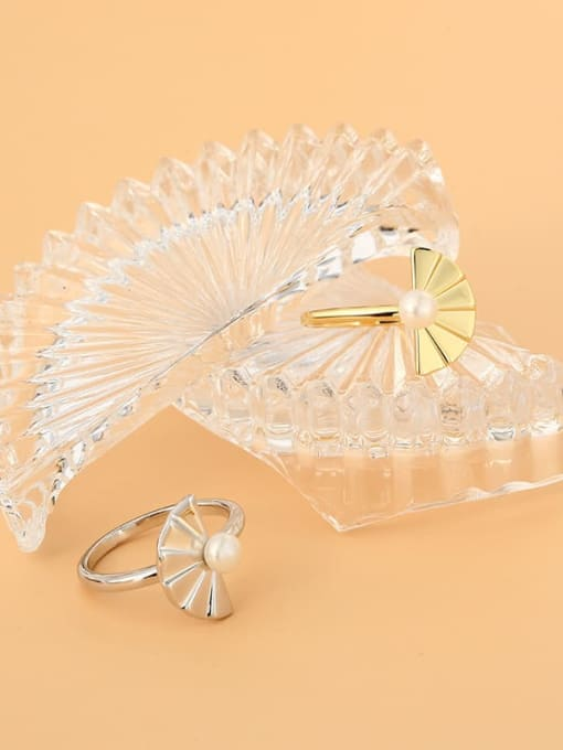 CHARME Brass Imitation Pearl Irregular Minimalist Band Ring