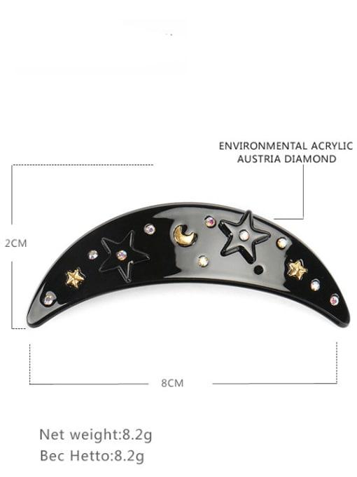 black Cellulose Acetate Minimalist Moon Zinc Alloy Spring clip Hair Barrette