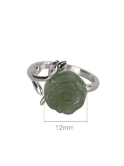 DEER 925 Sterling Silver Jade Flower Cute Band Ring 2