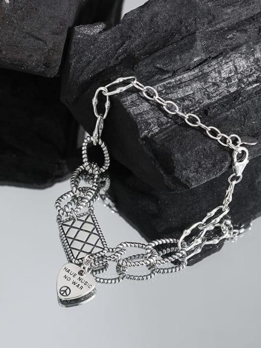 DAKA 925 Sterling Silver Geometric Vintage Love square brand chain  Link Bracelet 1