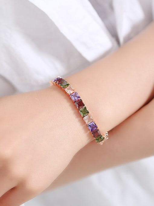 DUDU Brass Multi Color Geometric Cubic Zirconia  Dainty Bracelet 1