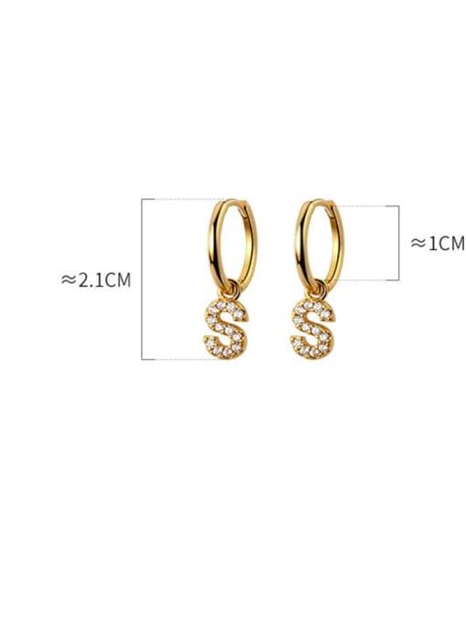 Rosh 925 Sterling Silver Cubic Zirconia Letter Minimalist Huggie Earring 4