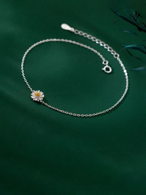 Rosh 925 Sterling Silver Flower Minimalist Anklet 0