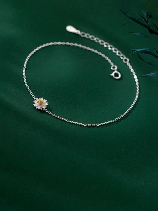 Rosh 925 Sterling Silver Flower Minimalist Anklet