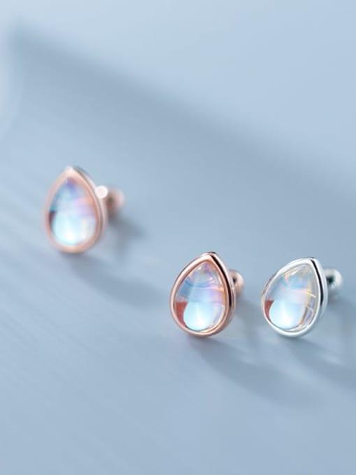 Rosh 925 Sterling Silver Opal Water Drop Minimalist Stud Earring