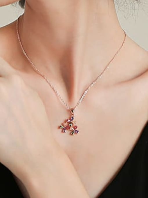 DUDU Brass Cubic Zirconia Multi Color Flower Dainty Necklace 1
