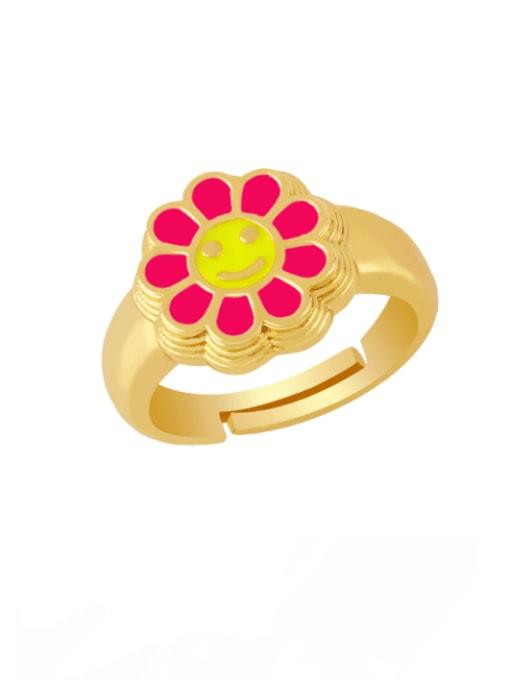 Rose red Brass Enamel Smiley Vintage Band Ring
