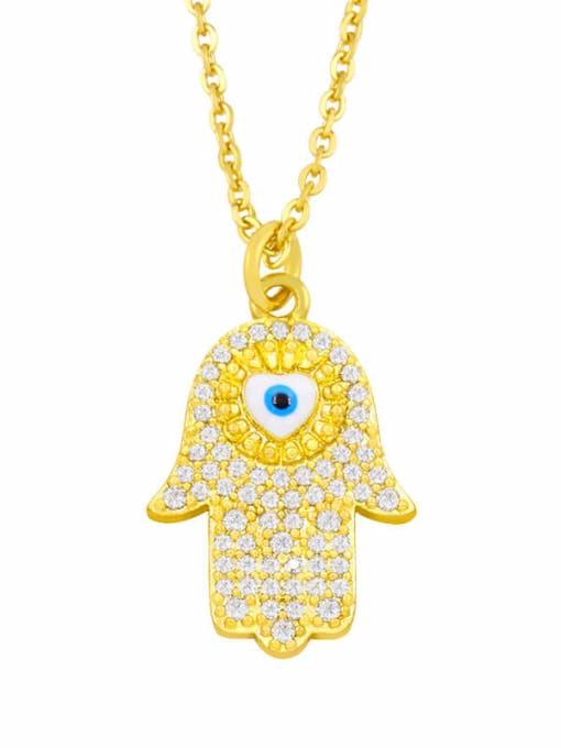 white Brass Cubic Zirconia Enamel Evil Eye Hip Hop Necklace