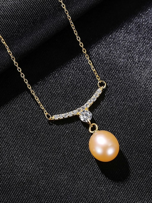 Pink 8B03 925 Sterling Silver Cubic Zirconia Water Drop Minimalist Necklace