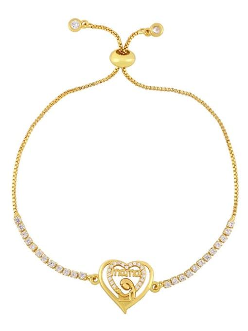 CC Brass Cubic Zirconia Heart Vintage Link Bracelet 2