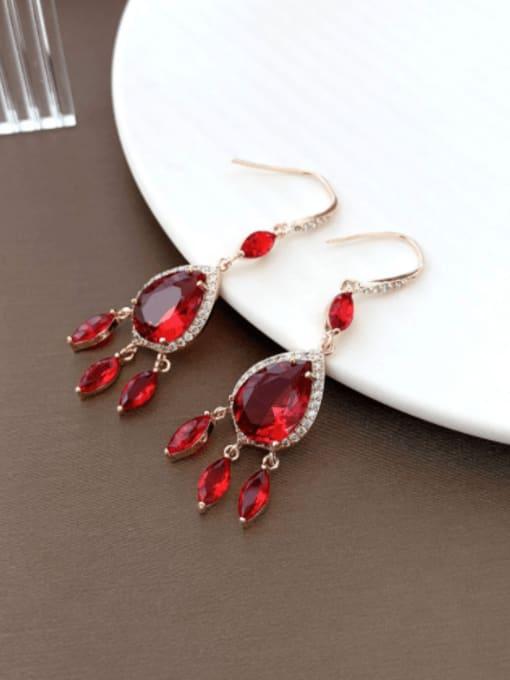 Red Brass Cubic Zirconia Water Drop Trend Hook Earring