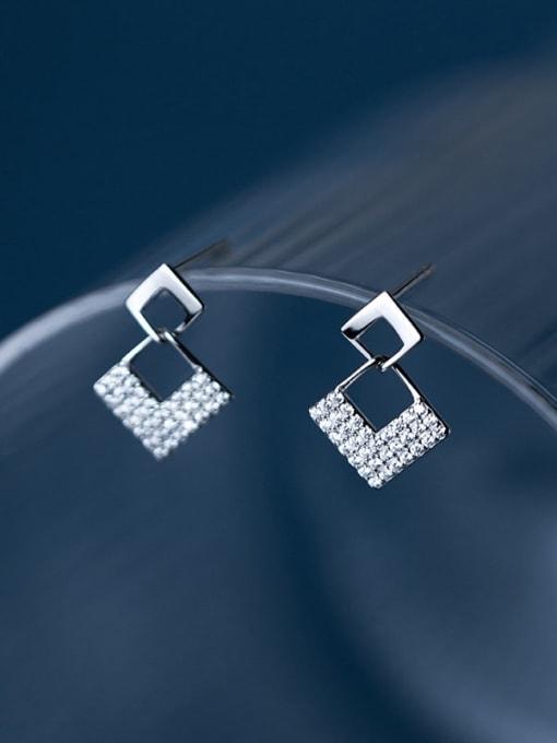 Silver 925 Sterling Silver Cubic Zirconia Geometric Minimalist Drop Earring