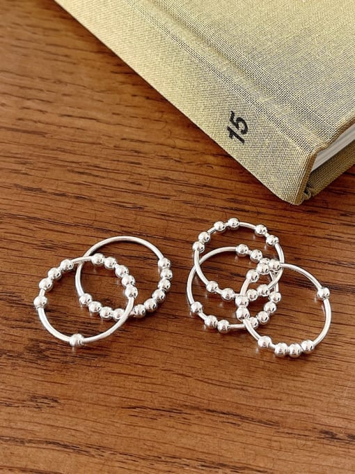 Boomer Cat 925 Sterling Silver Bead Geometric Minimalist Band Ring