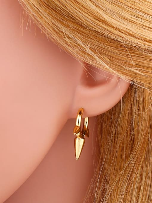 CC Brass Cone Minimalist Huggie Earring 2