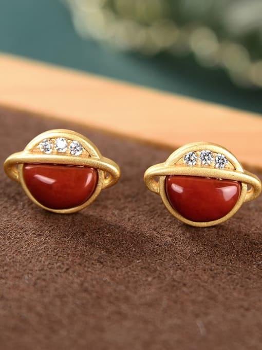 red Red 925 Sterling Silver Jade Star Vintage Stud Earring