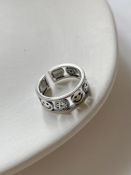 Boomer Cat 925 Sterling Silver Flower Vintage Band Ring 1