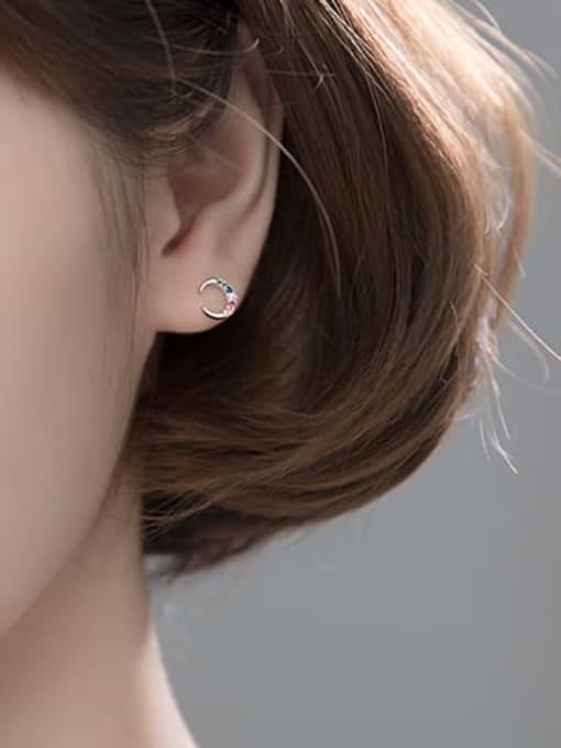 Rosh 925 Sterling Silver Cubic Zirconia  Asymmetry Moon Cute Stud Earring 2