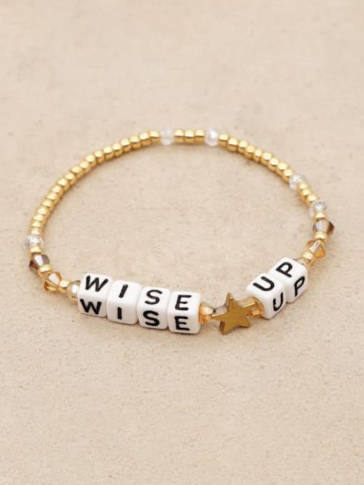 C B200055B Stainless steel Bead Letter Bohemia Adjustable Bracelet